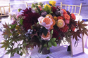 Centerpiece featuring fall dahlias charles austin roses