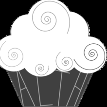 Medium cup cake logo with outline