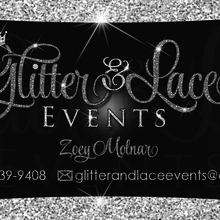 Medium glitter   lace business card